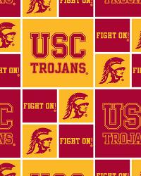 Southern California Trojans Block Cotton Print by