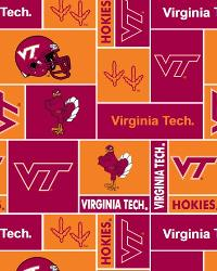 Beige College Fleece Fabric  Virginia Tech Hokies Block Fleece