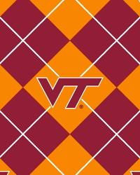 Beige College Fleece Fabric  Virginia Tech Hokies Argyle Fleece