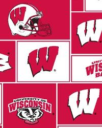 Beige College Fleece Fabric  Wisconsin Badgers Block Fleece