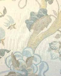 Blue Large Print Floral Fabric  Belflower Aegean