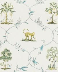 Blue Jungle Safari Fabric  Animal Kingdom Sapphire
