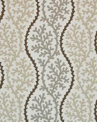 Grey Marine Life Fabric  Coral Beach Pebble
