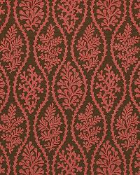Red Marine Life Fabric  Coral Splendor Clove