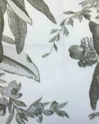 White Large Print Floral Fabric  Galapagos Ebony