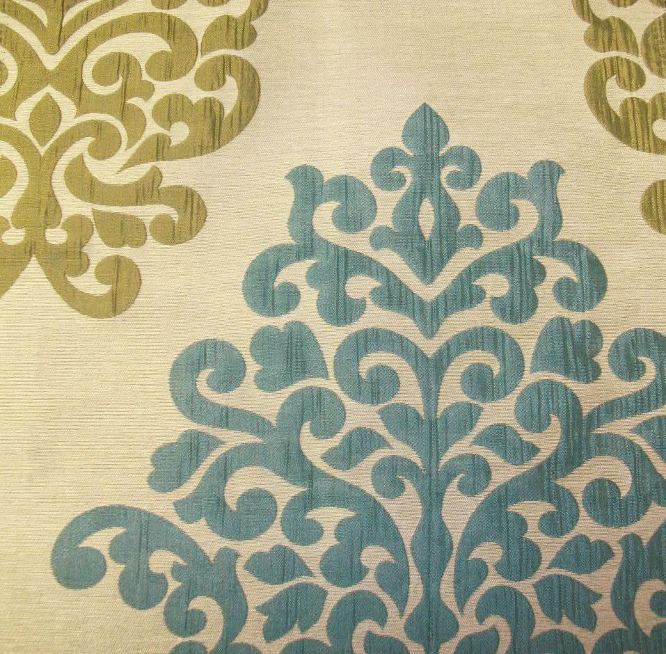 Kasmir Fabrics Rosedown Damask Aqua - InteriorDecorating.com
