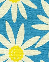 Blue Modern Floral Designs Fabric  Daisy Blue