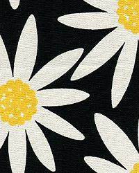 Black Modern Floral Designs Fabric  Daisy Noir