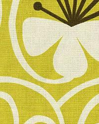 Green Modern Floral Designs Fabric  Groovy Citron
