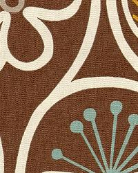Brown Modern Floral Designs Fabric  Groovy Fudge