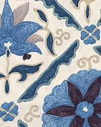 Blue Floral Diamond Fabric  Marrakech Blues