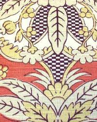 Red Medium Print Floral Fabric  Ranada Coral