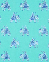Blue Jungle Safari Fabric  Bazaar Shorely Blue