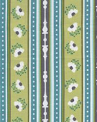 Ticking Stripe Turquoise Cotton Print by