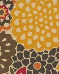 Orange Modern Floral Designs Fabric  Bloomer Harvest