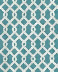 Blue Trellis Diamond Fabric  Escapade Turquoise