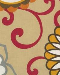 Orange Modern Floral Designs Fabric  Polite Harvest