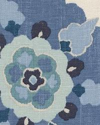 Blue Modern Floral Designs Fabric  Silsila Indian Sea