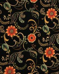 Medium Print Floral Fabric  3300 Onyx