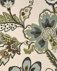 Beige Large Print Floral Fabric  Garden Crewel Seaglass