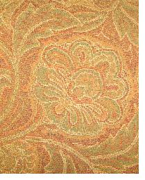 Orange Large Print Floral Fabric  Kingswood Paisley Gold 2
