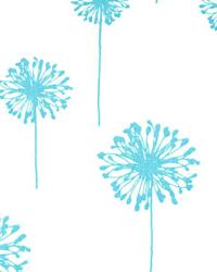 Blue Large Print Floral Fabric  Dandelion Girly Blue Twill
