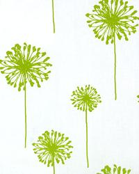 Green Medium Print Floral Fabric  Dandelion White Chartreuse