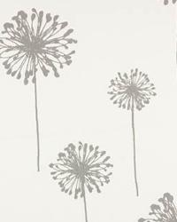 Grey Large Print Floral Fabric  Dandelion White Storm Twill