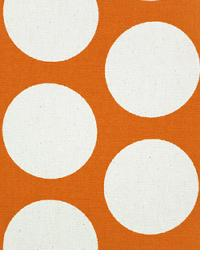 Orange Circles and Swirls Fabric  Dandie Sweet Potato - Natural