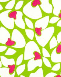 Modern Floral Designs Fabric  Helen Chartreuse Candy Pink