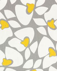 Beige Modern Floral Designs Fabric  Helen Storm Corn Yellow Twill