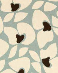 Modern Floral Designs Fabric  Helen Village Blue Natural