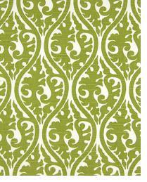 Green Circles and Swirls Fabric  Kimono Olive - White Slub