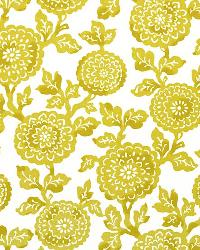 Yellow Modern Floral Designs Fabric  Mums Saffron