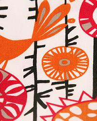 Orange Modern Floral Designs Fabric  Menagerie Sherbert Twill