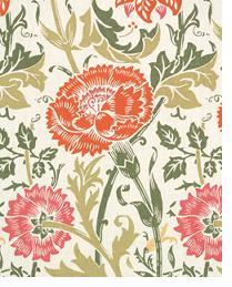 Orange Medium Print Floral Fabric  Mingei Beige