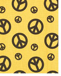 Premier Prints Peace Yellow Dance Chocolate Fabric