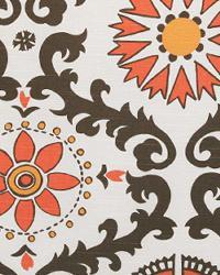 Orange Suzani Fabric  Rosa Chili Peppers Slub