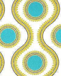 Blue Circles and Swirls Fabric  Susette Coastal Blue Saffron