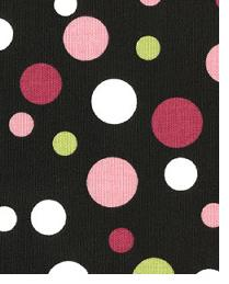 Black Circles and Swirls Fabric  Spirodots Black Pink