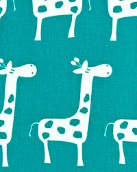 Blue Jungle Safari Fabric  Stretch True Turquoise