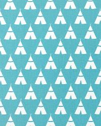 Blue Navajo Print Fabric  Tee Pee Coastal Blue White
