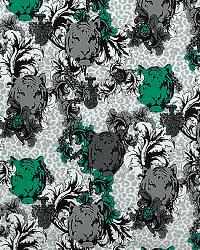 Green Jungle Safari Fabric  Tiger Poems Jade/Lycra