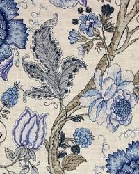 Blue Jacobean Floral Fabric  Maison Baltic