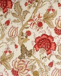 Red Jacobean Floral Fabric  Maison Rose