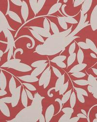 Red Birds Fabric  Leaf Point Peony