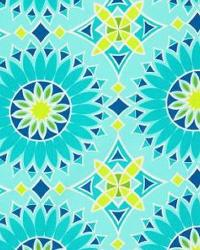 Blue Trina Turk IndoorOutdoor 2 Fabric  Soleil LA Print Aqua