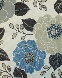 Blue Modern Floral Designs Fabric  Full Bloom Cream
