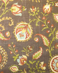 Brown Jacobean Fabrics  Samanu Cliffside Hazelnut
