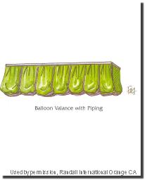 Balloon Valance with Piping by